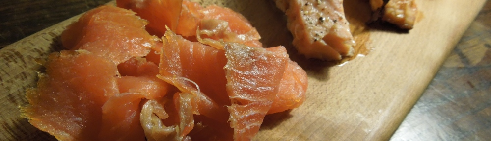 Image of Salmon Three Ways on a wooden board