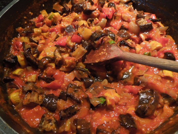 Image of roast veg mixed into tomato sauce