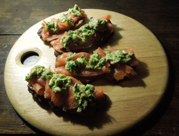 Image of toasted soda bread with smoked salmon, tapenade and avocado salsa