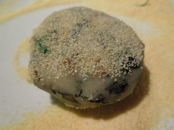 Image of potato cake dusted with polenta