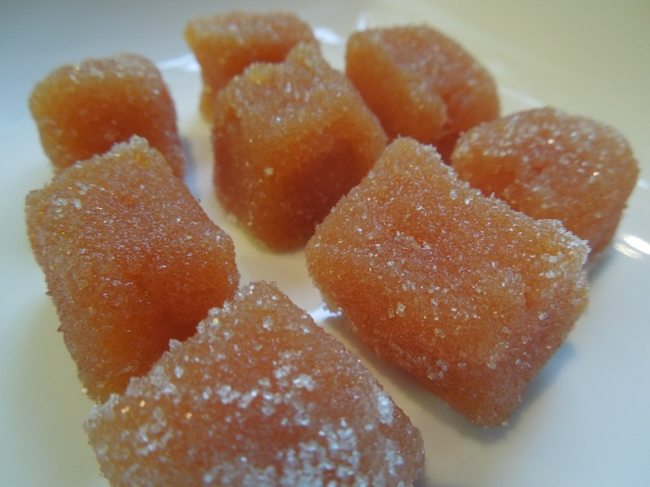 Image of cubes of membrillo rolled in sugar