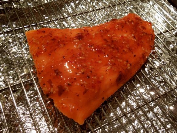 Image of raw salmon brushed with glaze