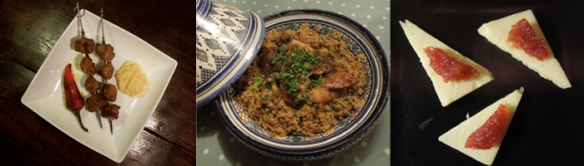 Image of Moorish kebabs, pheasant and quince tagine and cheese with membrillo