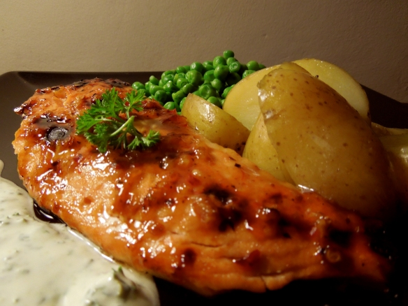 Image of chilli-glazed salmon