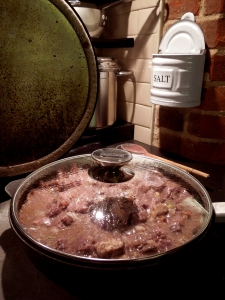 Image of pie filling on the stove