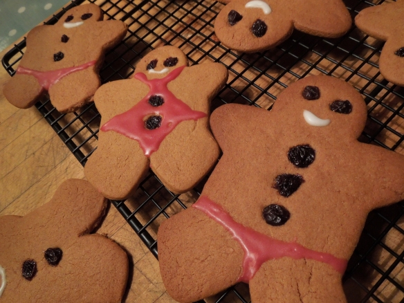 Image of gingerbread men in swimwear