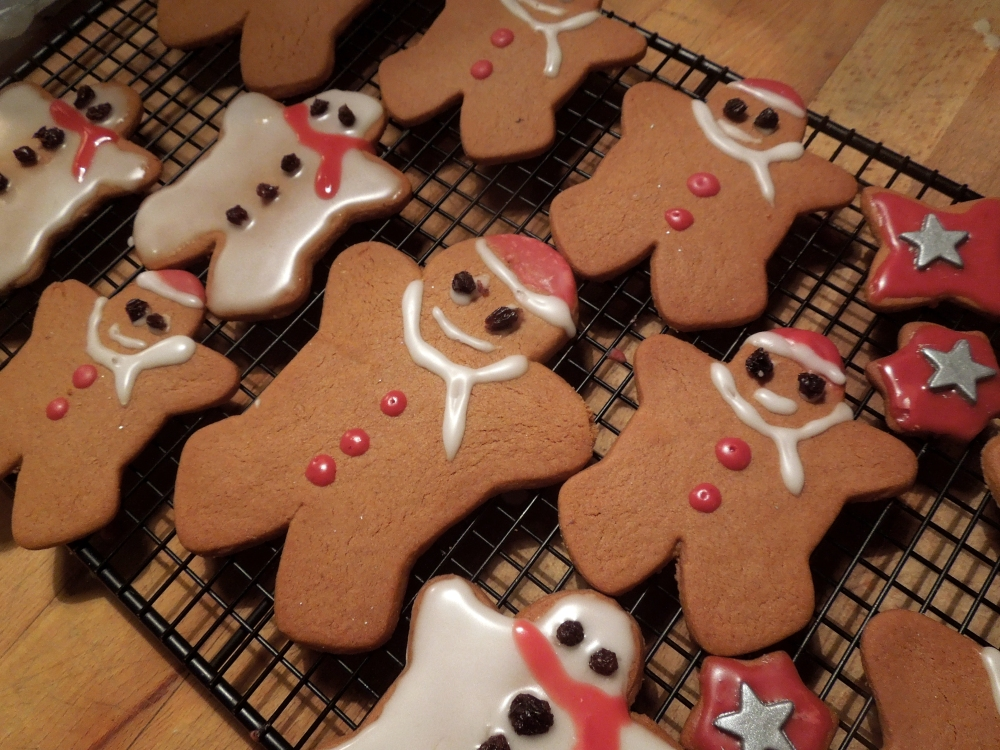 Image of gingerbread snowmen and santas