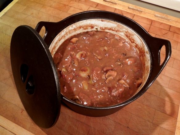 Image of beouf bourgignan in casserole dish