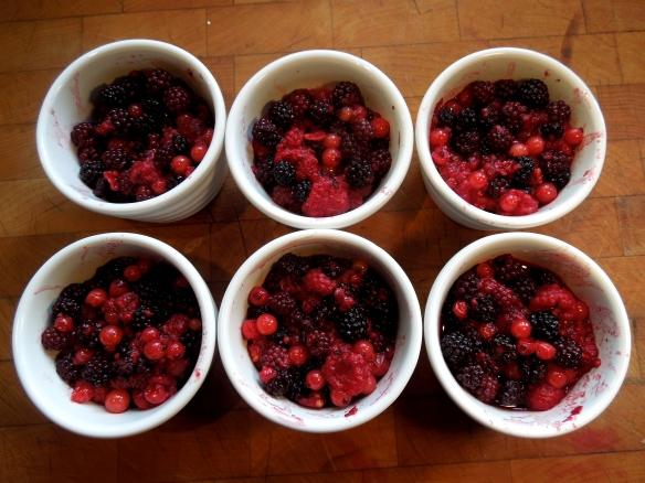 Image of berry mix in ramekins