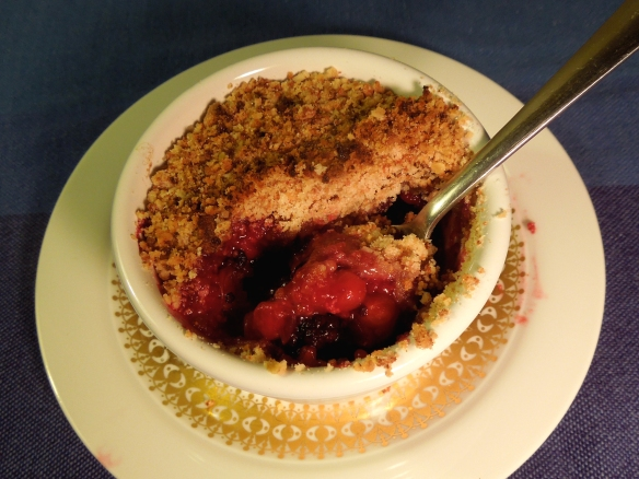 Image of a spoonful of crumble