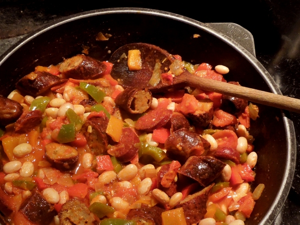 Image of sausages added to pan