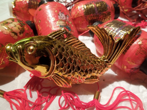 Image of lucky golden carp and Chinese lanterns