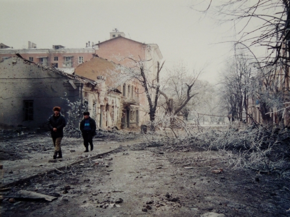 Image of bombed buildings in Grosny