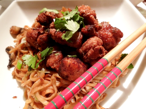 Image of five spice chicken served with noodles