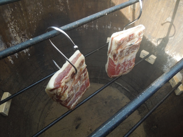 Image of our Marsh Pig bacon being smoked