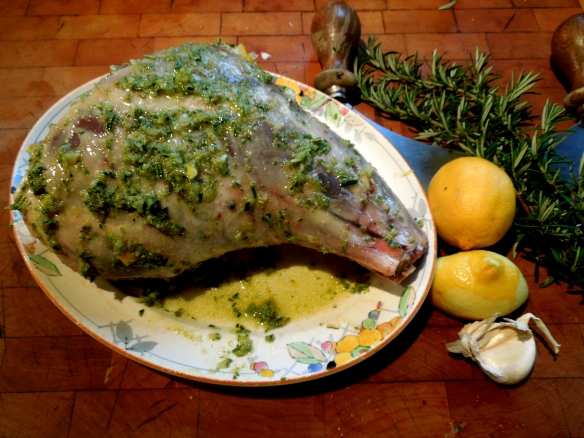Image of lamb covered in herb paste