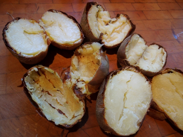 Image of baked potatoes, halved