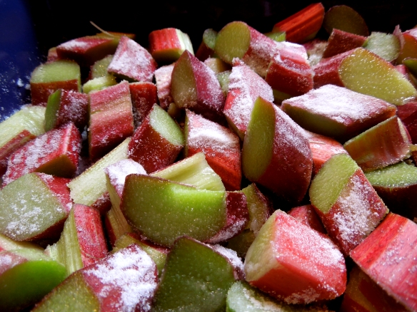 Image of rhubarb scattered with sugar