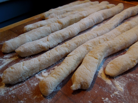 Image of dough rolled into sausages