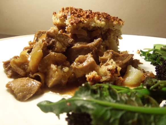 Image of pie served with purple sprouting broccoli