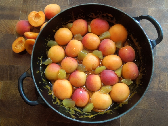 Image of apricots arranged on caramel