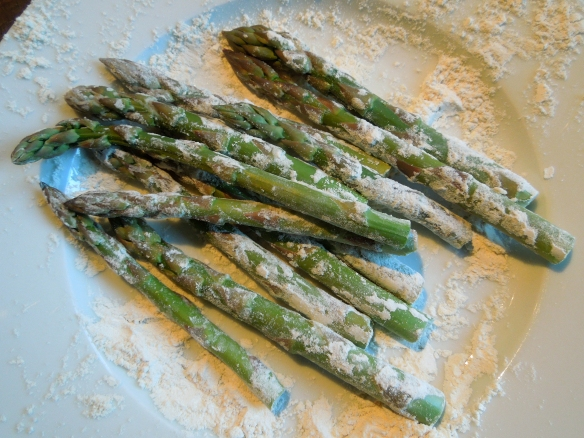 Image of flour-dusted asparagus