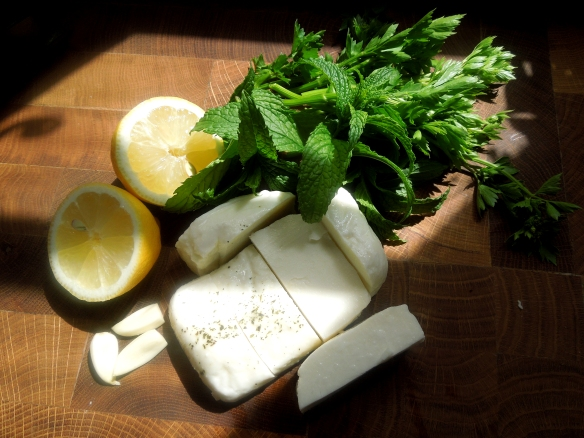 Image of ingredients for the halloumi lollipops
