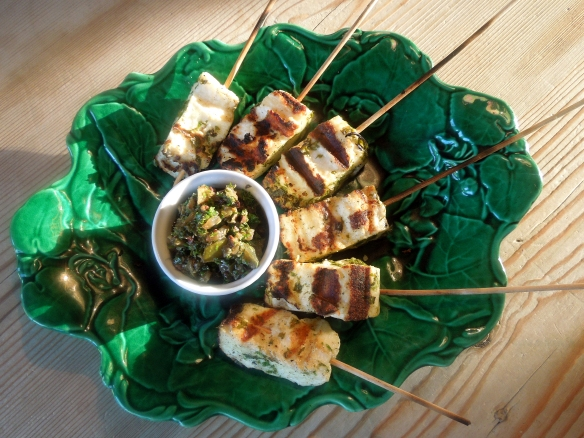 Image of halloumi lollipops with salsa verde