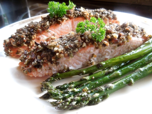 Salsa Verde Salmon with asparagus