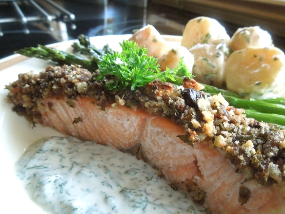 Salsa Verde Salmon with asparagus, potato salad and dill sauce