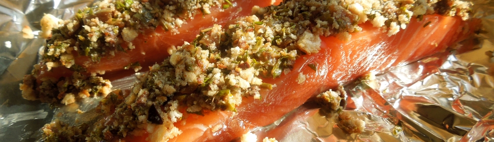 Image of salsa verde salmon ready for the oven