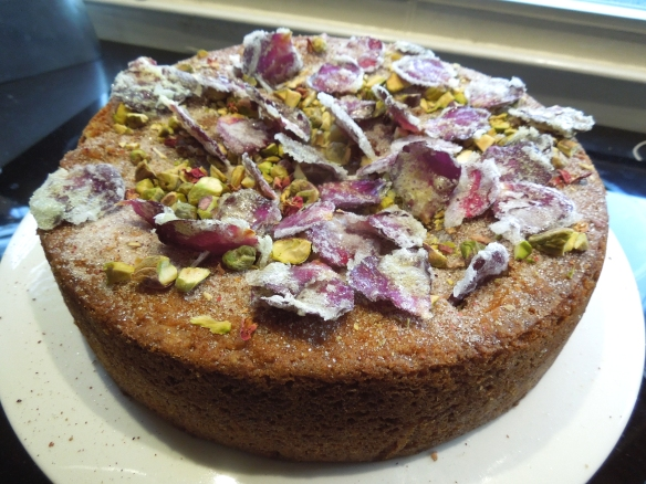 Image of pistachio and rosewater cake