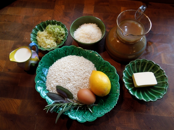 Image of ingredients for risotto with lemon