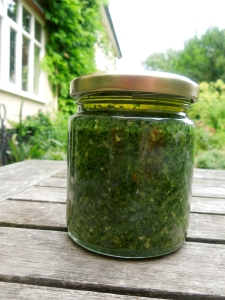 Image of a jar of coriander and cashew nut pesto