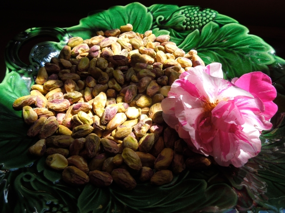 Images of pistachios and rose