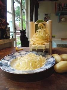 Image of spiralised potatoes with disapproving cat