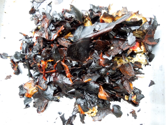 Image of debris from blackened peppers and aubergines