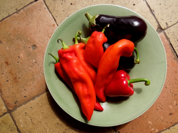 Image of peppers and aubergines