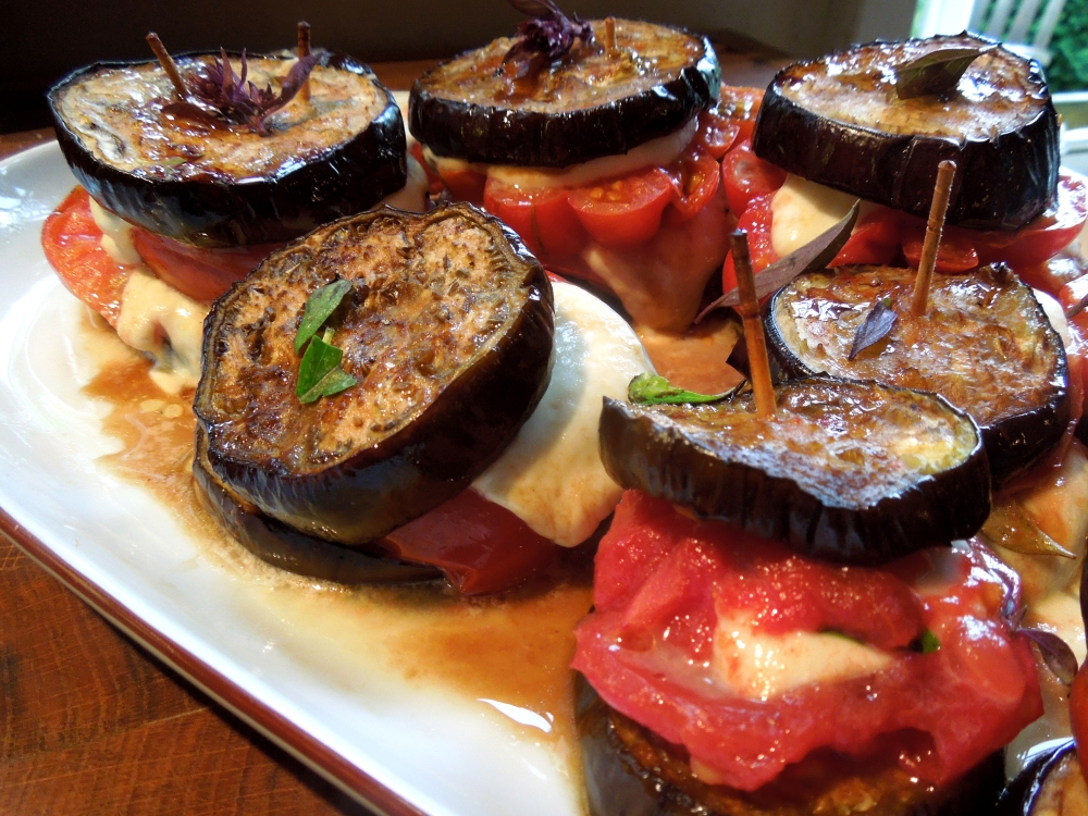 Image of aubergine caprese, served