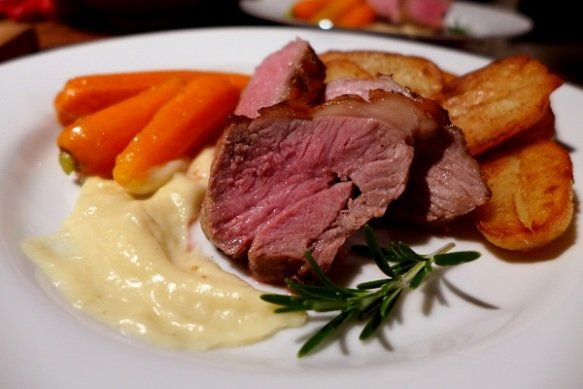 Image of lamb rump with sauce soubise, served