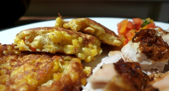 Image of chilli corn fritters, served, in close-up