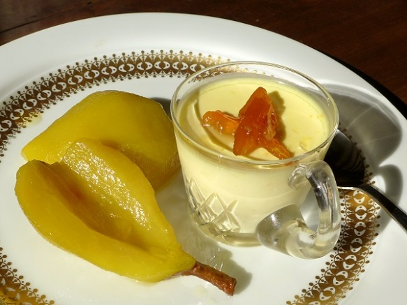 Image of saffron and ginger pears with orange posset
