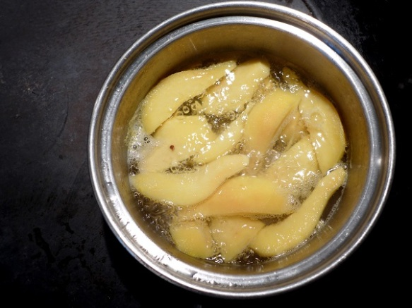 Image of quince, poaching