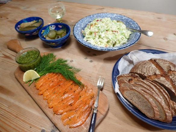 Image of gravadlax with bread and salad