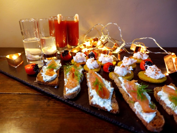 Image of prawn shots and mixed canapes