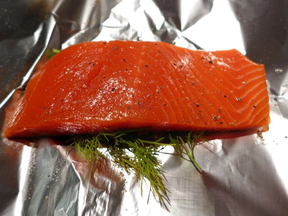 Image of salmon ready for foil parcel