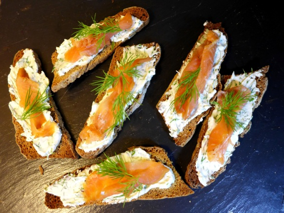 Image of rye toasts with dill cream cheese and smoked salmon
