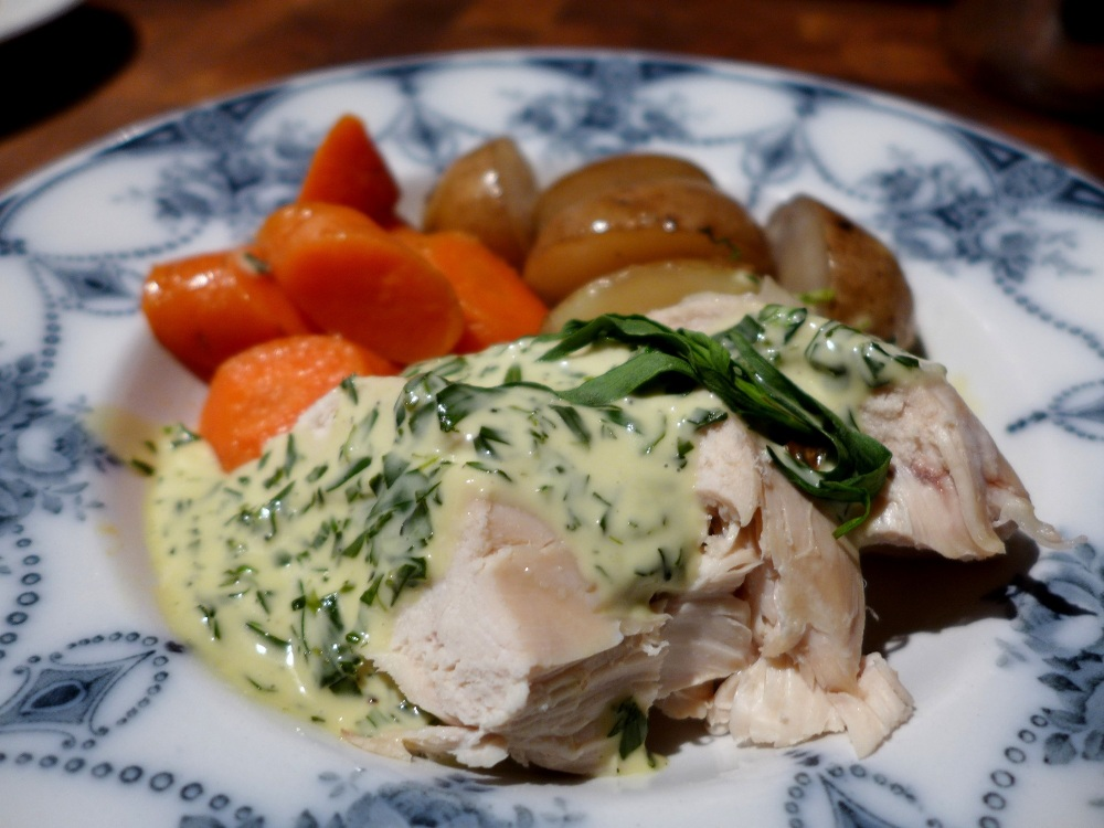 Image of poached chicken with tarragon cream