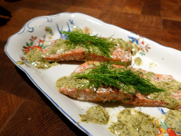Image of baked salmon with dill sauce