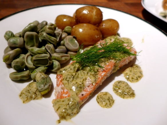 Image ofbaked salmon with dill sauce, served